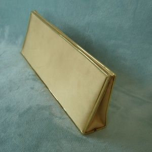 Gold Tone Satin Evening Clutch